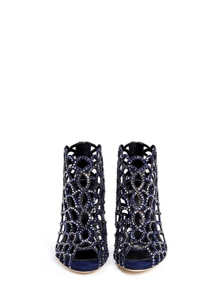 Figure View - Click To Enlarge - SERGIO ROSSI - 'Mermaid' strass suede caged booties