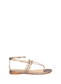 SERGIO ROSSIMetallic leather strappy sandals