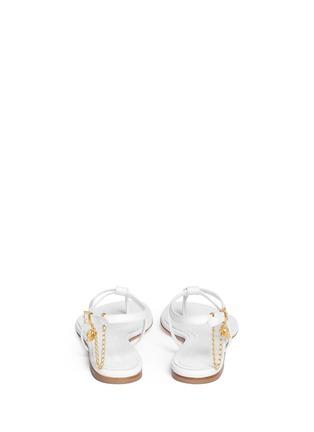 背面 - 点击放大 - ALEXANDER MCQUEEN - Skull charm chain leather thong sandals