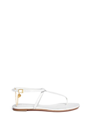Alexander McQueen-Skull charm chain leather thong sandals