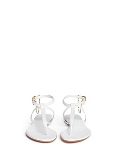 ALEXANDER MCQUEEN Skull charm chain leather thong sandals