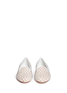 ALEXANDER MCQUEEN Floral perforation patent leather slip-ons
