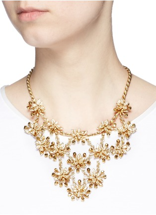 Figure View - Click To Enlarge - Miriam Haskell - Glass pearl floral bib necklace