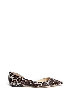 JIMMY CHOO'Walton' leopard print calf hair flats
