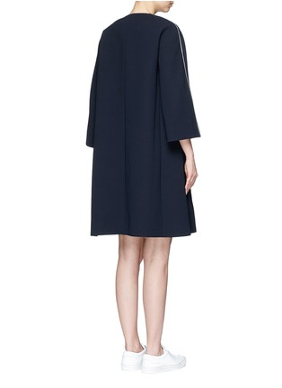 Back View - Click To Enlarge - Comme Moi - Wavy trim oversized crepe coat