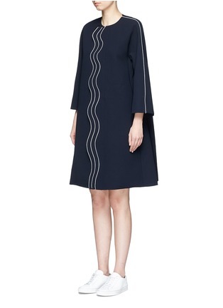Front View - Click To Enlarge - Comme Moi - Wavy trim oversized crepe coat