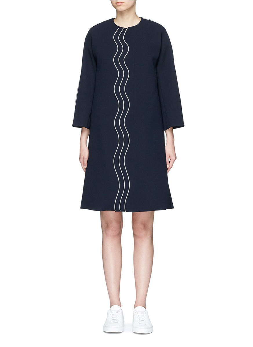 Wavy trim oversized crepe coat by Comme Moi