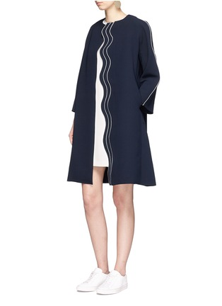 Figure View - Click To Enlarge - Comme Moi - Wavy trim oversized crepe coat