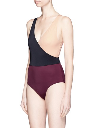 Figure View - Click To Enlarge - Solid & Striped - 'Ballerina' colourblock one-piece swimsuit