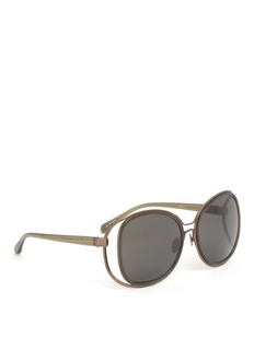 LINDA FARROW Double frame suspended acetate titanium sunglasses