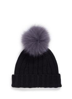 Isla Fox fur pompom chunky knit kids beanie
