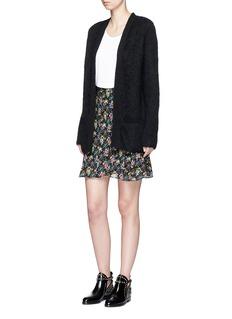 Saint LaurentWild flower print sable crepe skirt