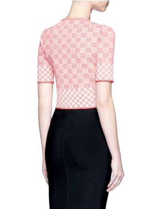 Back View - Click To Enlarge - Alexander McQueen - Check jacquard effect knit cropped sweater