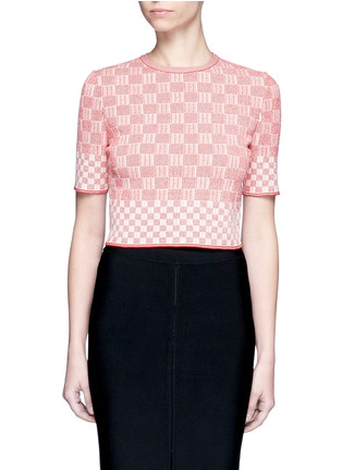 Main View - Click To Enlarge - Alexander McQueen - Check jacquard effect knit cropped sweater