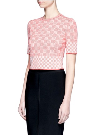 Figure View - Click To Enlarge - Alexander McQueen - Check jacquard effect knit cropped sweater