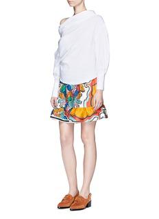 Emilio Pucci'Bermuda Piscina' print ruffle cuff silk shorts
