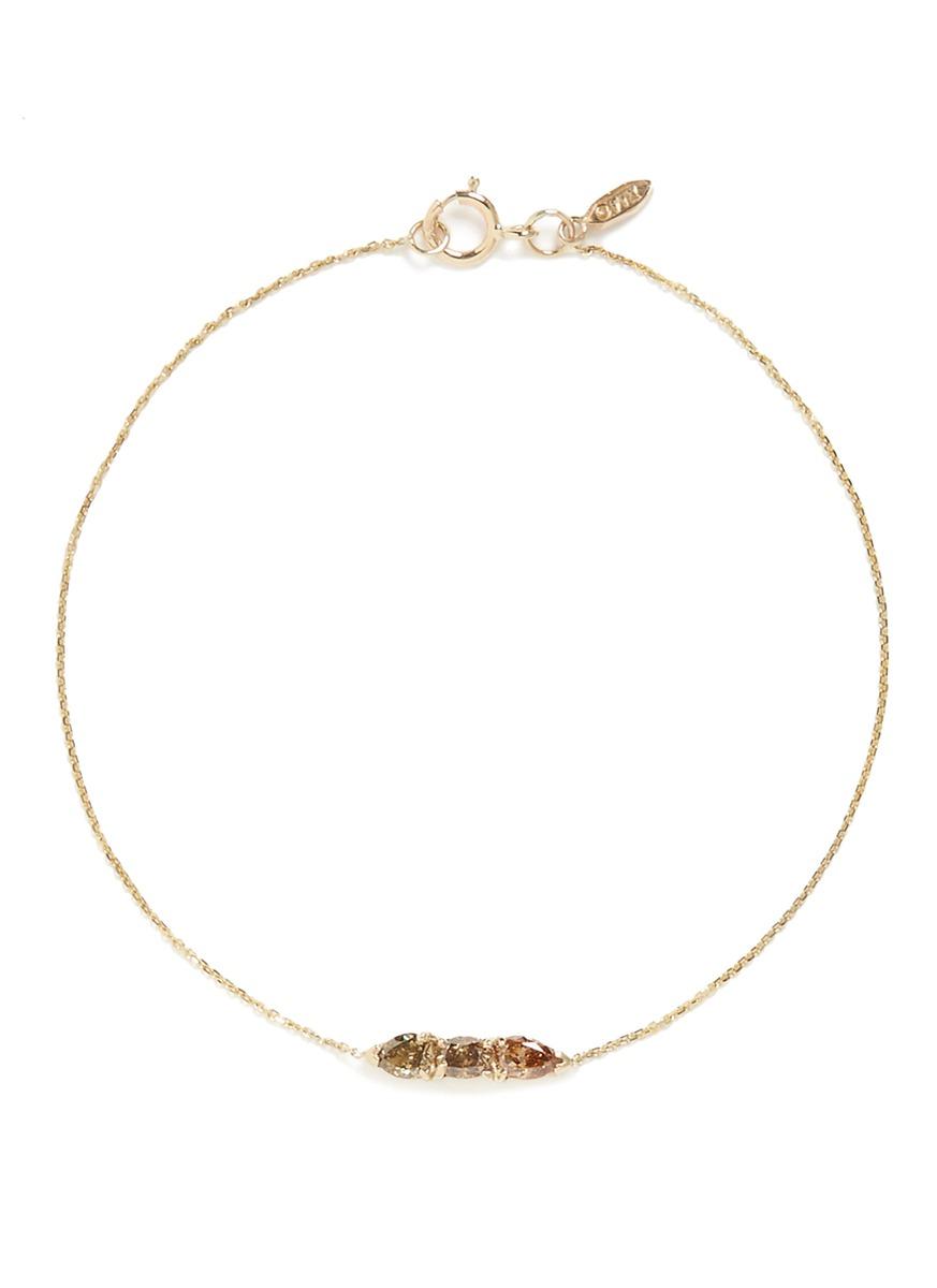 Stardust diamond 14k yellow gold chain bracelet by Xiao Wang