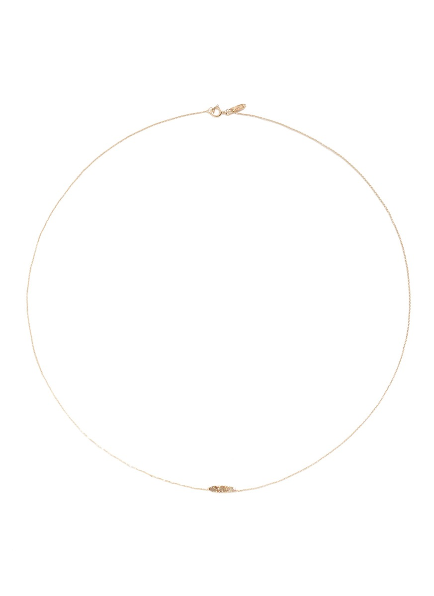 Stardust diamond 14k yellow gold necklace by Xiao Wang