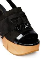 'Clara' patent trim tassel suede clog sandals