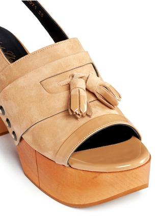 Detail View - Click To Enlarge - Robert Clergerie - 'Clara' patent trim tassel suede clog sandals
