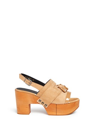 Main View - Click To Enlarge - Robert Clergerie - 'Clara' patent trim tassel suede clog sandals