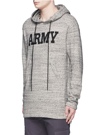 Front View - Click To Enlarge - NLST - 'Army' print mélange cotton terry hoodie