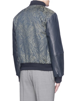 Back View - Click To Enlarge - CARVEN - Leather sleeve stripe jacquard bomber jacket
