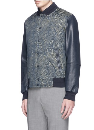 Front View - Click To Enlarge - CARVEN - Leather sleeve stripe jacquard bomber jacket