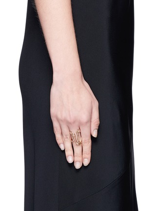 Figure View - Click To Enlarge - Fernando Jorge - 'Stream' diamond 18k rose gold open ring