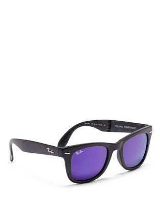 Figure View - Click To Enlarge - Ray-Ban - 'Wayfarer Folding Classic' acetate mirror sunglasses