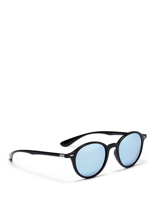 Figure View - Click To Enlarge - Ray-Ban - 'RB4237 Liteforce' thermoplastic round mirror sunglasses