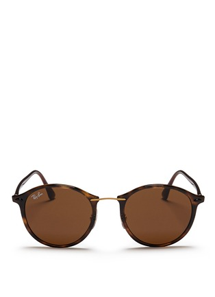 Main View - Click To Enlarge - Ray-Ban - 'RB4242 Light Ray' titanium temple round sunglasses