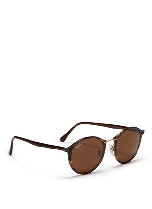 Figure View - Click To Enlarge - Ray-Ban - 'RB4242 Light Ray' titanium temple round sunglasses