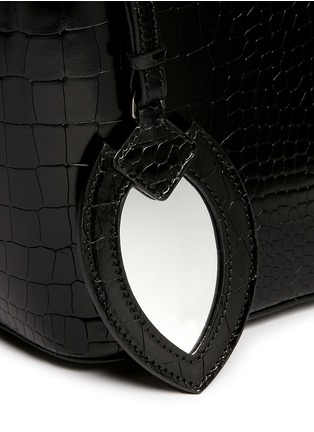 Detail View - Click To Enlarge - Alaïa - Croc embossed mini leather bucket tote