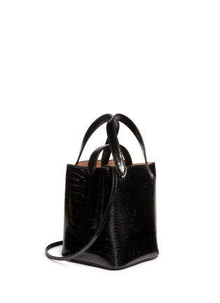 Front View - Click To Enlarge - Alaïa - Croc embossed mini leather bucket tote