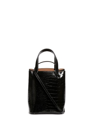 Main View - Click To Enlarge - Alaïa - Croc embossed mini leather bucket tote