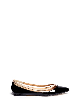 Main View - Click To Enlarge - Pedder Red - Vinyl stripe patent leather flats