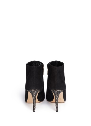 Back View - Click To Enlarge - Kate Spade - 'Niko' coarse glitter heel suede ankle boots
