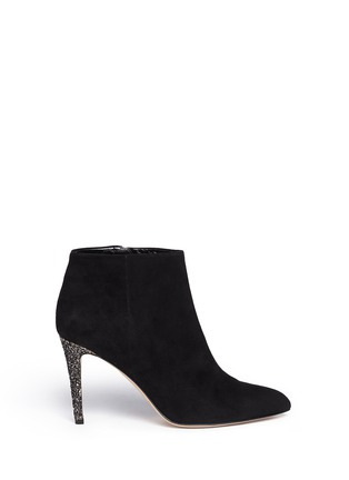 Main View - Click To Enlarge - Kate Spade - 'Niko' coarse glitter heel suede ankle boots