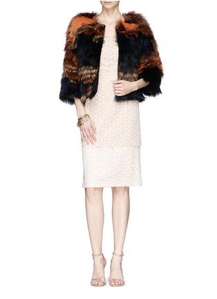 细节 - 点击放大 - ALEXANDER MCQUEEN - Floral lace bustier chiffon dress