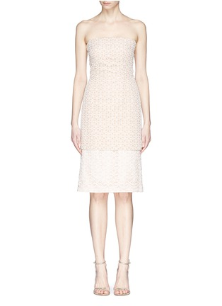 Alexander McQueen-Floral lace bustier chiffon dress