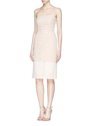 模特儿示范图 - 点击放大 - ALEXANDER MCQUEEN - Floral lace bustier chiffon dress