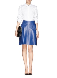 Alexander McQueenFloral laser cutout leather wrap skirt