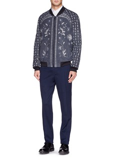 Alexander McQueenFloral and paisley print suede bomber jacket