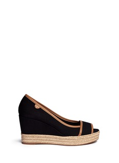 TORY BURCH 'Majorca' canvas espadrille wedge sandals