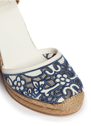 Detail View - Click To Enlarge - Tory Burch - 'Lucia' floral cutout toe box wedge espadrilles