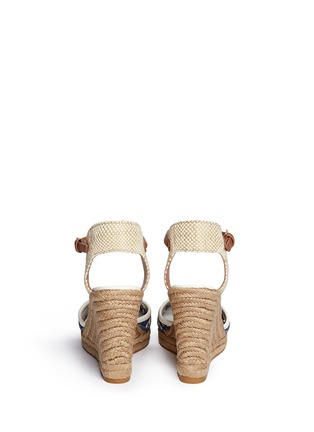 Back View - Click To Enlarge - Tory Burch - 'Lucia' floral cutout toe box wedge espadrilles