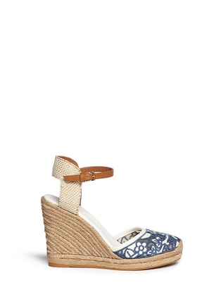 Main View - Click To Enlarge - Tory Burch - 'Lucia' floral cutout toe box wedge espadrilles