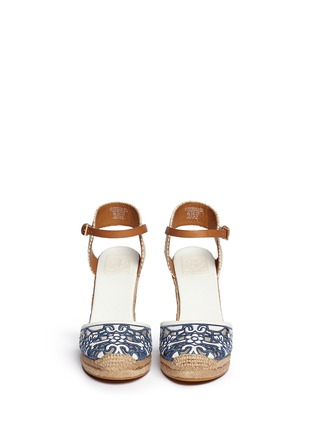 Figure View - Click To Enlarge - Tory Burch - 'Lucia' floral cutout toe box wedge espadrilles