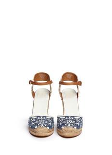 TORY BURCH'Lucia' floral cutout toe box wedge espadrilles